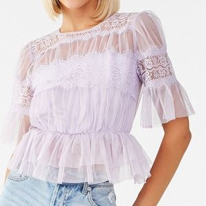 Forever 21 Lavender Lace Top NWT